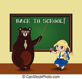 kawaii, carino, lavagna, orso, cartone animato, aula, scolara, insegnante
