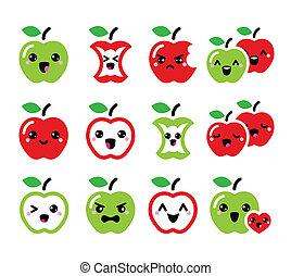 kawaii, carino, mela, mela, verde rosso