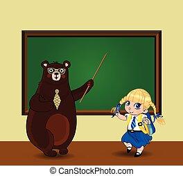 kawaii, carino, spazio, lavagna, orso, cartone animato, aula, scolara, copia, insegnante