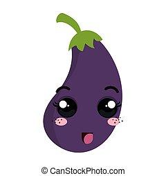 kawaii, cartone animato, melanzana