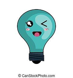 kawaii cartoon bulb