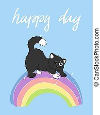 kawaii cartoon cat on rainbow on sky blue background, cute furry animal card with handwritten slogan, editable vector illustration for decoration, t shirt print, poster