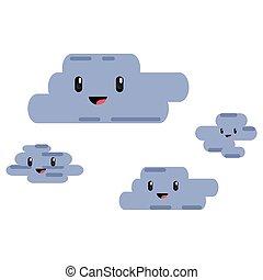 kawaii cartoon clouds happy character