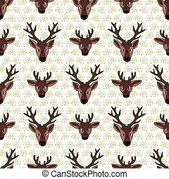 Kawaii cartoon deer face seamless pattern. Cute doe animal ...
