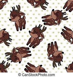 Kawaii cartoon deer seamless pattern. Cute doe animal flat ...