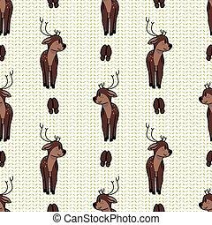 Kawaii cartoon deer with hoof print seamless pattern. Cute ...