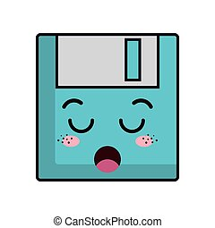 kawaii cartoon diskette
