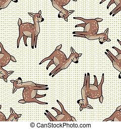 Kawaii cartoon doe seamless pattern. Cute doe animal flat ...