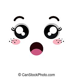 kawaii cartoon emoticon with surprised expression face. ...