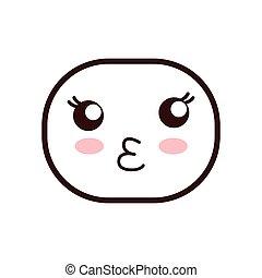 kawaii cartoon expression icon. Vector graphic