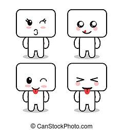 Kawaii cartoon face expression frames cute icon. Vector graphic