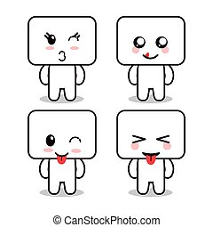 Kawaii cartoon face expression frames cute icon. Vector graphic