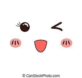 kawaii cartoon face expression smile icon. Vector graphic