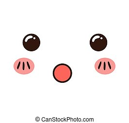 kawaii cartoon face expression smile icon. Vector graphic