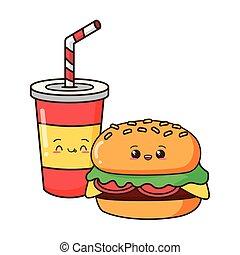 kawaii cartoon fast food