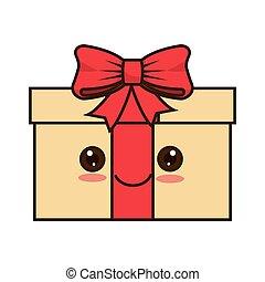 kawaii cartoon gift box