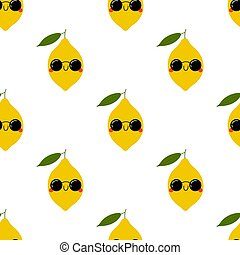 Kawaii Cartoon Limon in sunglasses. Colored Seamless Vector ...