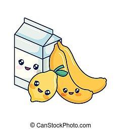 kawaii cartoon milk box lemon and bananas