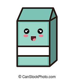 kawaii cartoon milk box