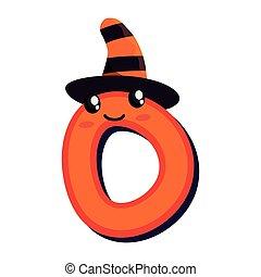 kawaii cartoon number zero halloween character