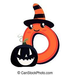 kawaii cartoon number zero halloween character pumpkin