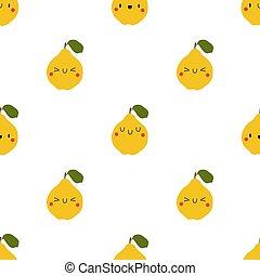 Kawaii Cartoon Quince. Seamless Vector Patterns in Flat ...