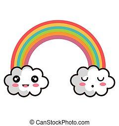kawaii cartoon rainbow
