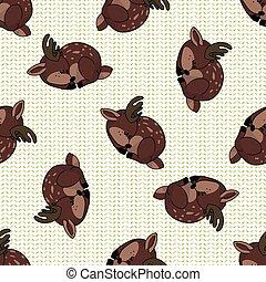Kawaii cartoon sleeping stag deer seamless pattern. Cute doe...