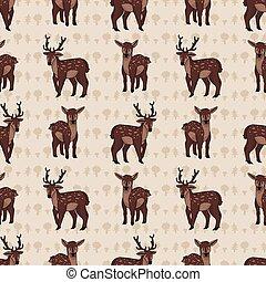 Kawaii cartoon stag and deer seamless pattern. Cute doe ...