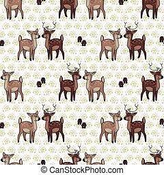 Kawaii cartoon stag and doe seamless pattern. Cute doe ...