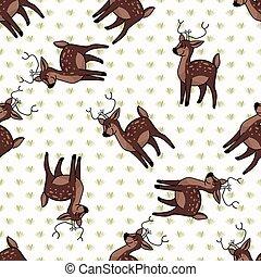 Kawaii cartoon stag deer seamless pattern. Cute doe animal ...