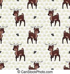 Kawaii cartoon stag deer with flower seamless pattern. Cute ...