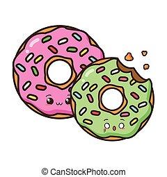 kawaii cartoon sweet donuts
