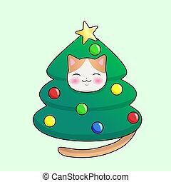 Kawaii cat in a Christmas tree costume. Vector graphics.