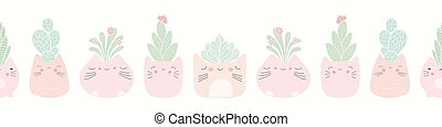 Kawaii cat plant pots with succulents seamless banner background. Cute vector border pattern design.