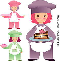 kawaii chefs - Is a EPS 10 Illustrator file without...