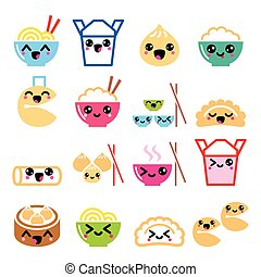 Vector icons set of cute Kawaii Chinese food isolated on white