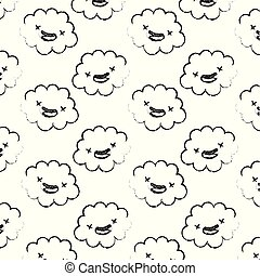 kawaii cloud happy cartoon comic pattern