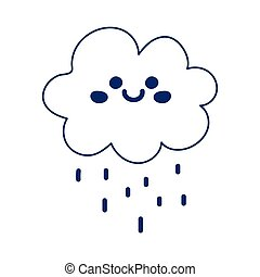 kawaii cloud rain weather cartoon cute line style