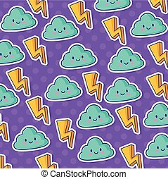 kawaii clouds and lighting bolts background