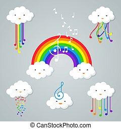 Kawaii clouds and rainbow icon