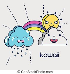 kawaii clouds and sun faces expression