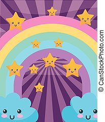 kawaii clouds rainbow stars cartoon sunburst