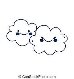 kawaii clouds sky weather character cartoon cute line style