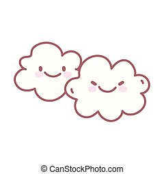 kawaii clouds sky weather character cartoon cute