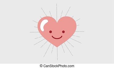 kawaii, coeur, dessin animé