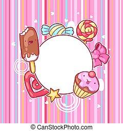 kawaii, coeur, fou, cadre, candies., style, bonbons, sweet-stuff, dessin animé