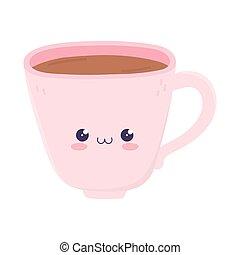 kawaii coffee cup cute cartoon isolated icon