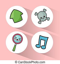 kawaii collection icons social media