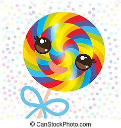 Kawaii colorful candy lollipop with bow, spiral candy cane. Candy on stick with twisted design with pink cheeks and winking eyes, pastel colors polka dot background. Vector